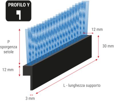 Spazzola flessibile profilo a Y