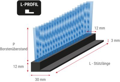 Flexible Streifenbürste mit L-Profil