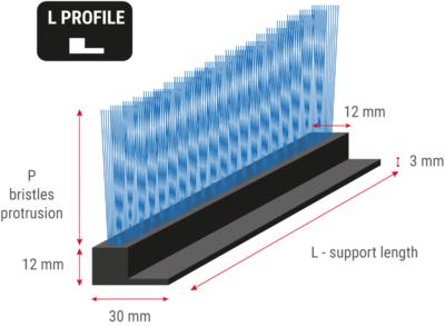 Flexible strip brush with L profile