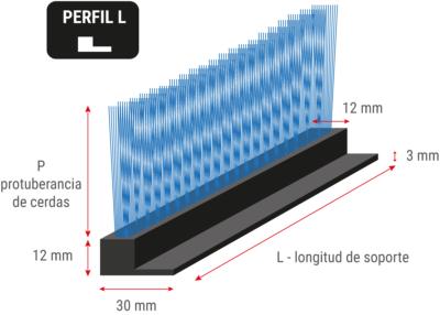 Cepillo de tiras flexible con perfil en L
