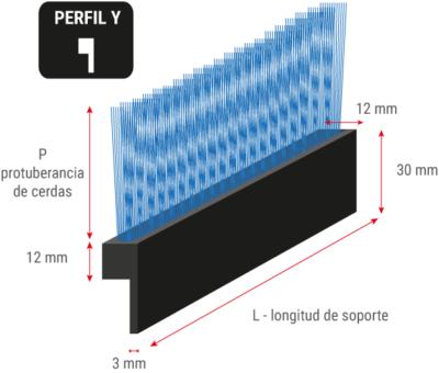 Cepillo de tiras flexible con perfil en Y